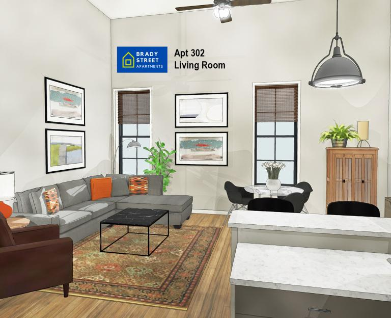 Brady St Apts Interior Renderings